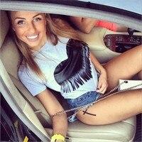 Jojo 2016 Brand New Summer Womens T Shirts Short Sleeve Tops Tees Tshirt Fashion For Women Plus Size Tassel Heart t-shirt