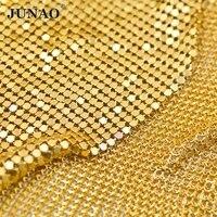 JUNAO 45x150cm Gold Silver Black Aluminium Mesh Fabric Metal Sequins Sheet Rhinestones Trim for Bra Camisole Kendall Dress DIY