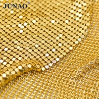 JUNAO 45x150cm Gold Silver Black Aluminium Mesh Fabric Metal Sequins Sheet Rhinestones Trim for Bra Camisole Kendall Dress DIY