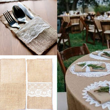 Handmade Pocket Fork Knife Cutlery Holder Bag Burlap Jute Lace Party Wedding Cutlery Bag Tableware Holder Pocket(China)