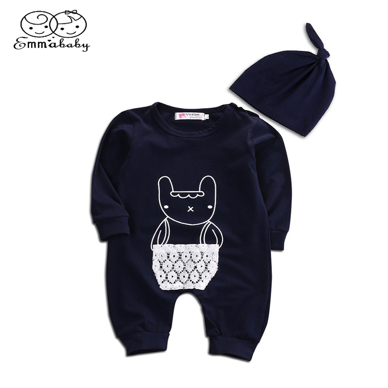 Emmababy Baby Boys Girls Outfits Lace Pocket Cotton long Sleeve Romper Bear Print Jumpsuit Hat Kids Newborn Clothes