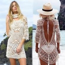 ZOGAA Sexy Lace Crochet Tassel Bikini Swimwear Cover Up Women Summer Hollow Out V Neck Beach Dress Sundress Vocation Mini Dress sexy hollow out crochet lace mini dress