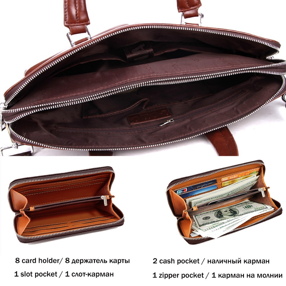 beae564130 VICUNA POLO Causal Business Double Layer Business Man Briefcase Large Brand  Mens Leather Laptop Bags OL Men Shoulder Bag Handbag-in Briefcases from  Luggage ...