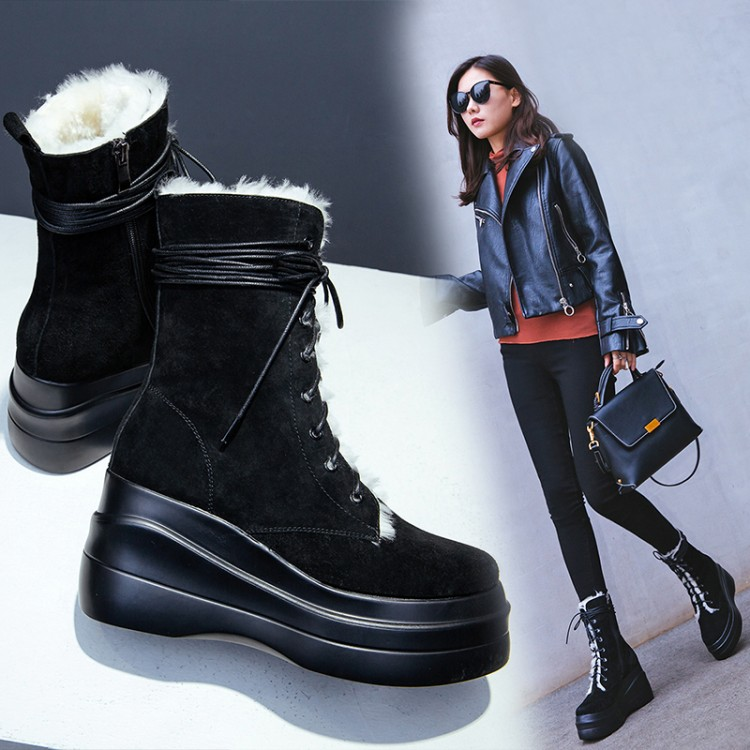 Mujer Negro Tobillo Botas Cuero Mujeres Caliente Nieve Tacón Gamuza Plataforma Alto Las Para {zorssar} Zapatos Invierno Nueva Llegada 2018 De Xq0HUq