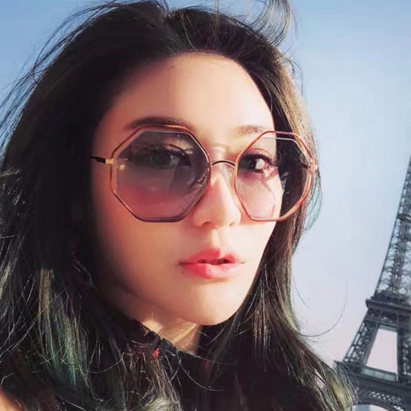 Cubojue Hexagon Sunglasses Women Oversized Sun Glasses for Female Pink Vintage Sunglasses-women 2018 Woman Shades Retro Sunglass