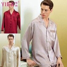 1653 yier бренд Для мужчин 100% шелковые пижамы Наборы для ухода за кожей мужской домашней одежды одноцветное пижамы рубашка + штаны, 2 предмета пижама с длинным рукавом Бесплатная доставка