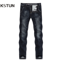 KSTUN Jeans Men New Arrivals Autumn and Winter Denim Pants Straight Slim Stretch Black Blue Thicken Famous Brand Patched Pockets