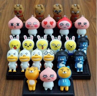 Kakao Friends Figures Toys Cute Cartoon Cocoa Friends Ryan Muzi Apeach Neo Frodo Dolls Keychain Key Bag Pendants 1pcs