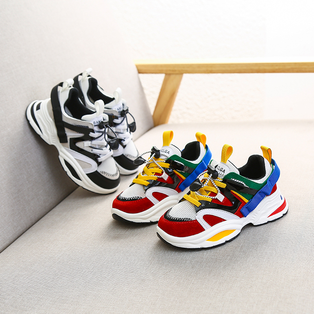 Spring New Fashion Baby Girls Black Genuine Leather Shoes Children Mesh Sport Sneakers Kids Casual Shoes Boys Brand Shoes 2019 2