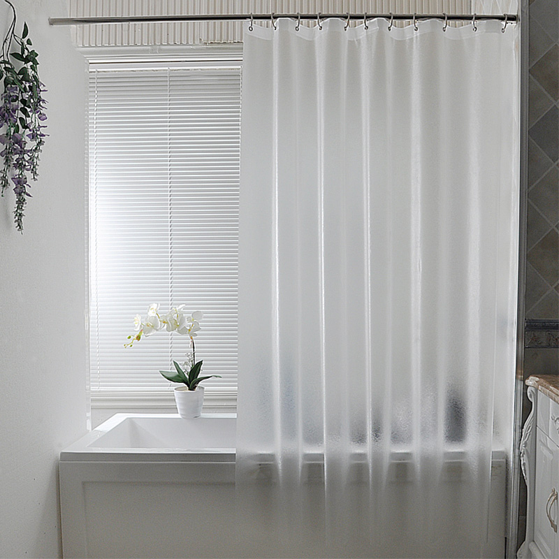 Nordic Plastic Waterproof Punch-free Shower Curtain Translucent Thickened Bath Curtains Frosted Atmosphere Partition Curtain