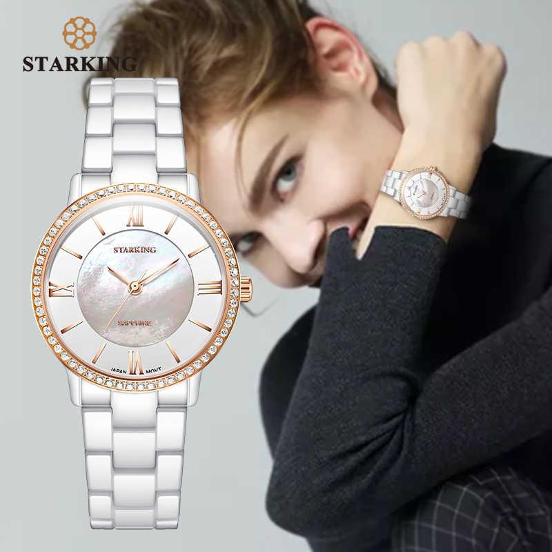 STARKING Marca Mulheres Relógios de Luxo Safira Cerâmica Branca Diamante Senhoras Relógio de Presente Relógio de Quartzo Relógio de Pulso Relogios Femininos