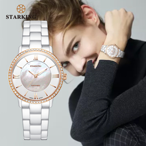 Image 2 - STARKING מותג יוקרה נשים שעונים לבן קרמיקה יהלומי גבירותיי שעון מתנה ספיר קוורץ שעוני יד Relogios Femininos שעון
