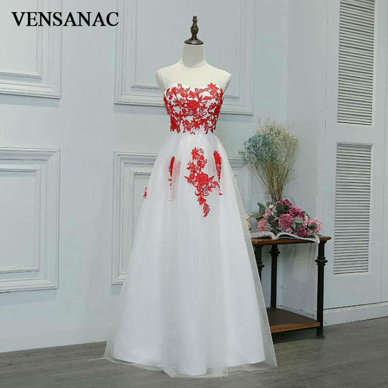 VENSANAC New A Line 2017 Embroidery Sweetheart Draped Long Evening Dresses Sleeveless Elegant Flowers Lace Party Prom Gowns in Evening Dresses from Weddings Events
