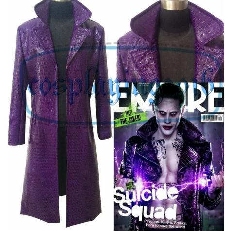 Halloween Suicide Squad Joker Costume Cosplay Purple Jacket Trench Coat Outfit