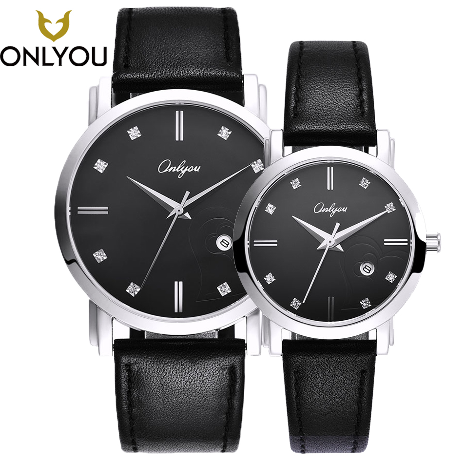 купить ONLYOU Women Dress Watch Lovers Watch Ladies Leather Watchband Quartz Men luxury Wristwatch Waterproof Clock relogio masculino по цене 9351.02 рублей
