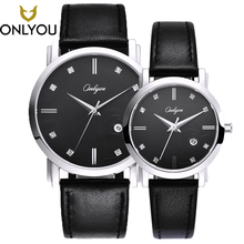 ONLYOU Women Dress Watch Lovers Watch Ladies Leather Watchband Quartz Men luxury Wristwatch Waterproof Clock relogio masculino