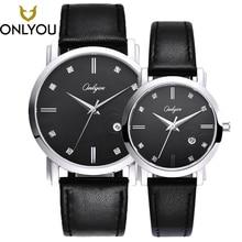 ONLYOU Women Dress Watch Lovers Watch Ladies Leather Watchband Quartz Men luxury Wristwatch Waterproof Clock relogio masculino