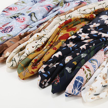Muslim Flora Printed Seersucker Headscarf For Women's Ethnic Striped Wrap Shawls Large Size 70*180cm Scarves