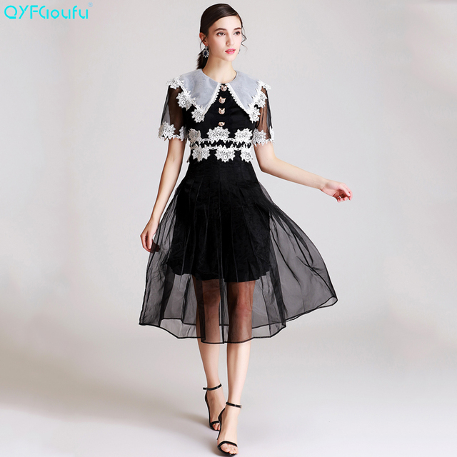fe5996f4643 Embroidery Black Dress Women Short Sleeve Runway Tulle Pleated Casual Dress