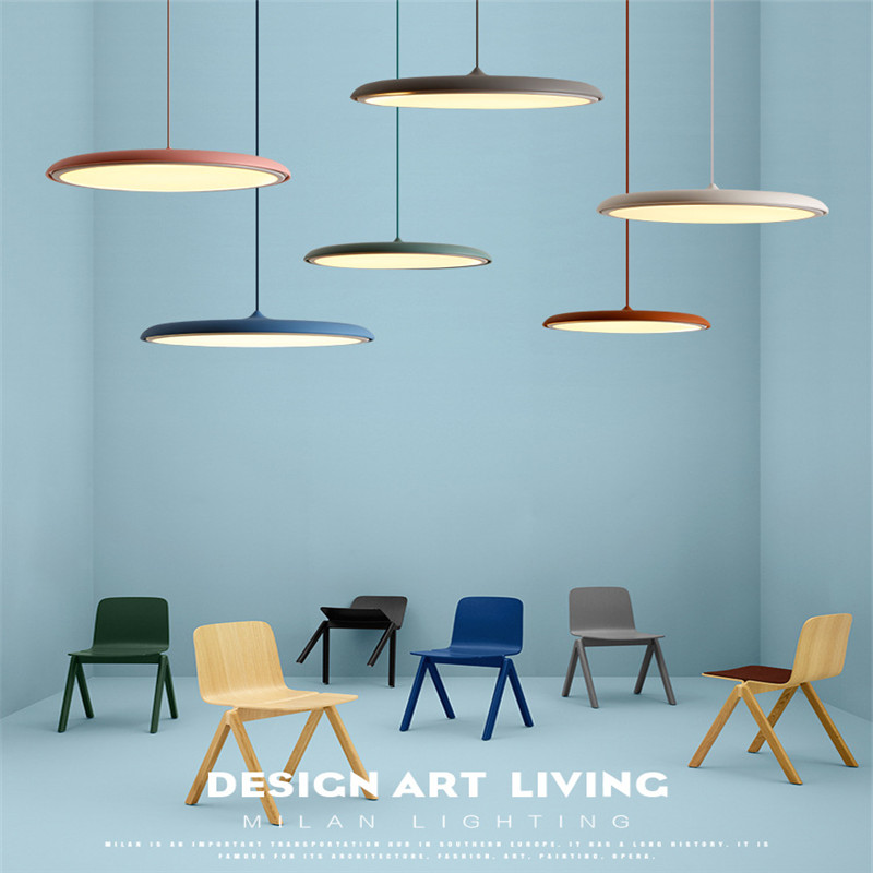 Nordic Macaron Simple Cafe Pendant Light Post-modern Living Room Restaurant Lamp Denmark Creative Bar Saucer Lamp Free Shipping nordic post modern crown pendant lights art denmark creative bar living room decoration light fixtures with led bulbs