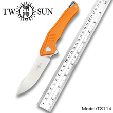 TwoSun Knives G10 D2 Fast Open Folding Pocket Knife tactical knife Survival knives camping outdoor Pathfinder Aranea TS114-G10