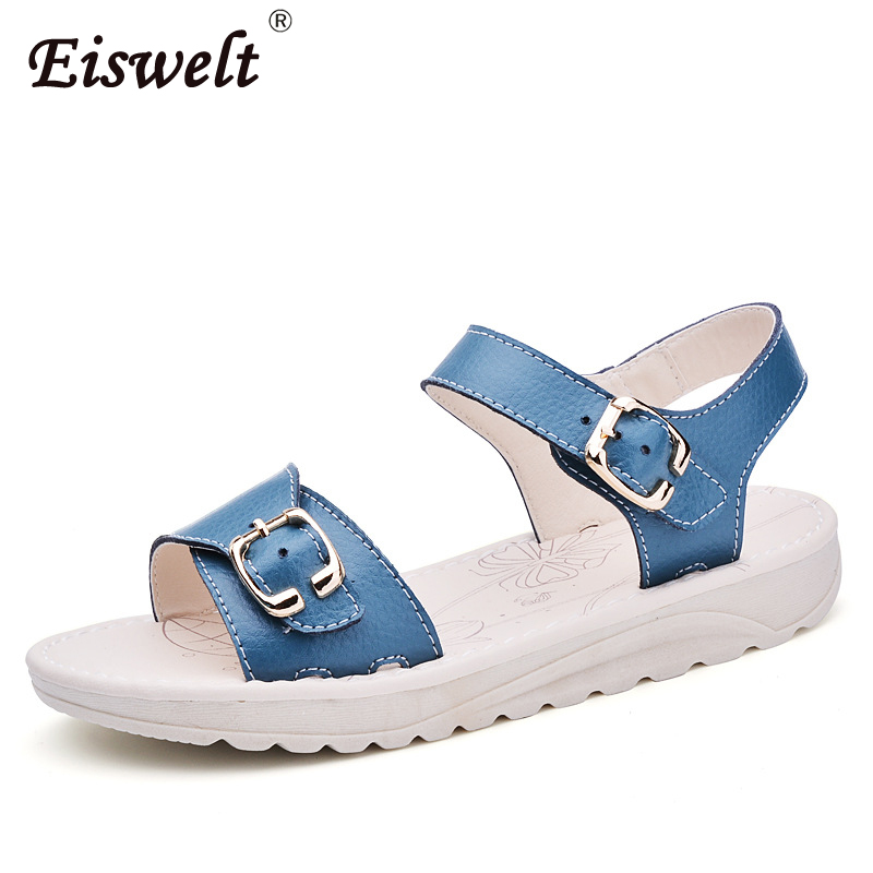 EISWELT women casual sandals women Open Toe Platform Sandals PU Leather flat Sandals Low Wedges Summer Shoes#ZQS002 summer shoes woman platform sandals women soft leather casual open toe gladiator wedges women nurse shoes zapatos mujer size 8