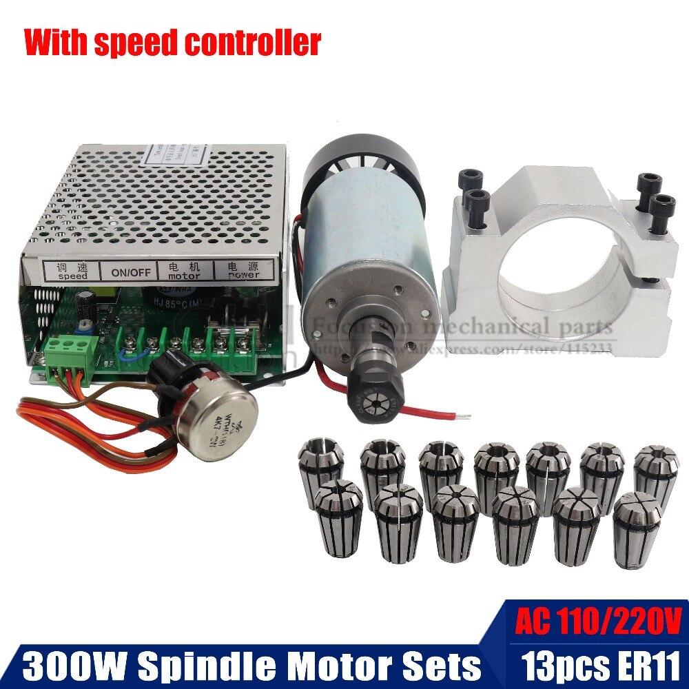 1 set ER11 (1-7mm 13 pièces) mandrin + CNC 300 W moteur de broche + 52mm support de montage + alimentation de broche DC 0-48 V pour la gravure de PCB