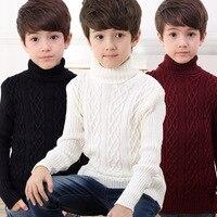 新しい冬の男の子服ティーンボーイズセーター子供ファッションタートルネックのセーター子供のセーター生き抜くセーター男の子服