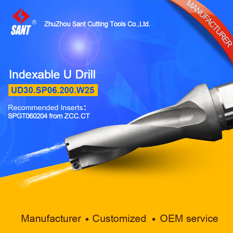 Zhuzhou Sant Indexable Drilling Tools U Drill UD30.SP06.200.W25 Applicable Carbide Inserts SPGT060204 Or SPMG060204 wcmx080412 nn lt30 swiss made lamina original carbide inserts for u drill