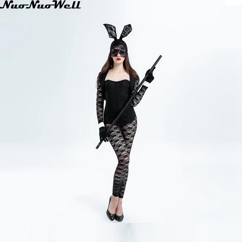 Detail Feedback Questions about Christmas Night Club Party Sexy Bunny Girl  Cosplay Black Hot Lace Bunny Girls Costume Adult Fantasias Women Halloween  ...