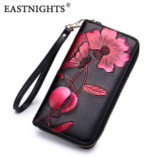 цены EASTNIGHTS long wallet women genuine leather zipper clutch wallets female vintage flower purse lady card holder