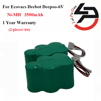 2pcs Lot NI MH 6V 3 5Ah Replacement Battery For Ecovacs Deebot Deepoo D73 D76 D62