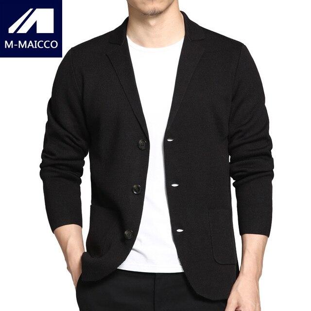M-MAICCO мужская Вязать Повседневная Пиджаки Сплошной Цвет Тонкий Модный Бренд мужской Пиджак Весной и Осенью Куртка Черного
