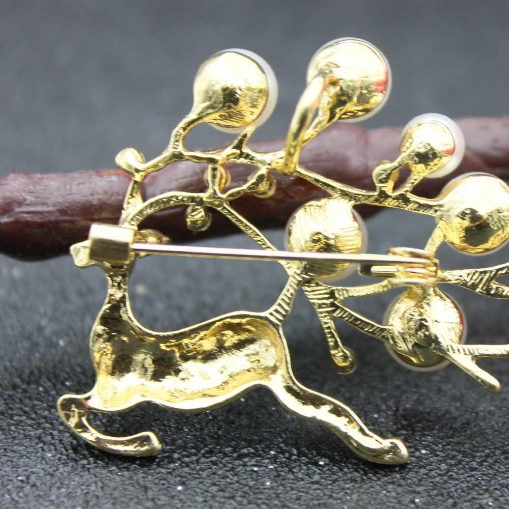 Putri Duyung Rusa Bros Mutiara Mutiara Bros untuk Wanita Lucu Bayi Pin Berlian Imitasi Hadiah Golden Kerah Pin Vintage Perhiasan Enamel Pin