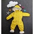Plátano del bebé Mamelucos de la Capa 2016 Niños Del Invierno de Lana Gruesa Ropa de Escalada Niños Niñas Con Capucha de Piel de Mono de Invierno Parkas Outwear Trajes de Esquí