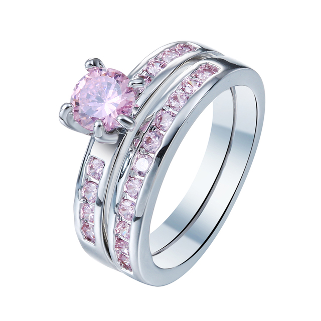 2017 cute promise Rings sets hot cheap jewelry drop shipping princess Pink Cubic Zircon women Engagement Ring