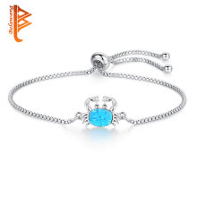 Blue Fire Opal Bracelet Silver Chain Natural Stone Crab Charms Bracelets Bangles For Women Grils Femme Bracelets Fashion Jewelry(China)