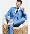 Custom Made Mens Light Blue Suits Formal Men Suit Set men wedding suits groom tuxedos(jacket+pants+vest)