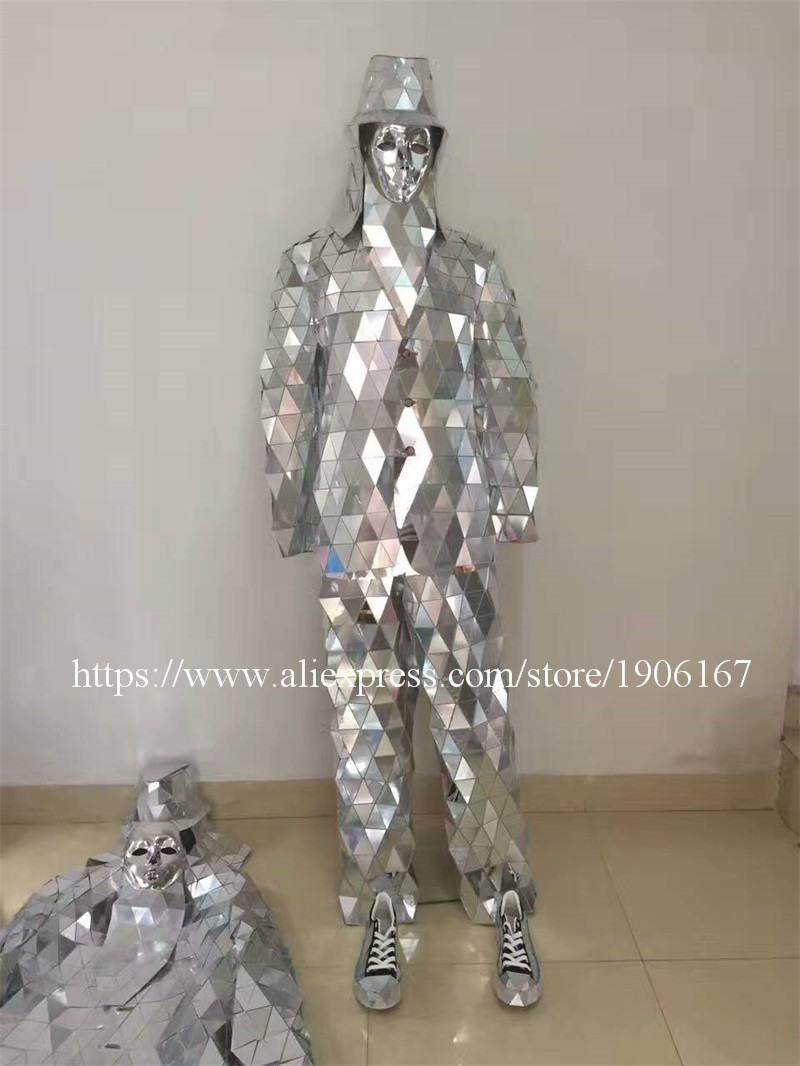 Mirror Clothing Event Party Supplies Mirror Design Dazzling Fashion Costume Men Women Street Art Reflective Clothes Robot Suit11