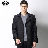 MUDI Brand Men Trench Coat Upscale Autumn Winter Warm Jacket Male Trench Parka Clothing England Style