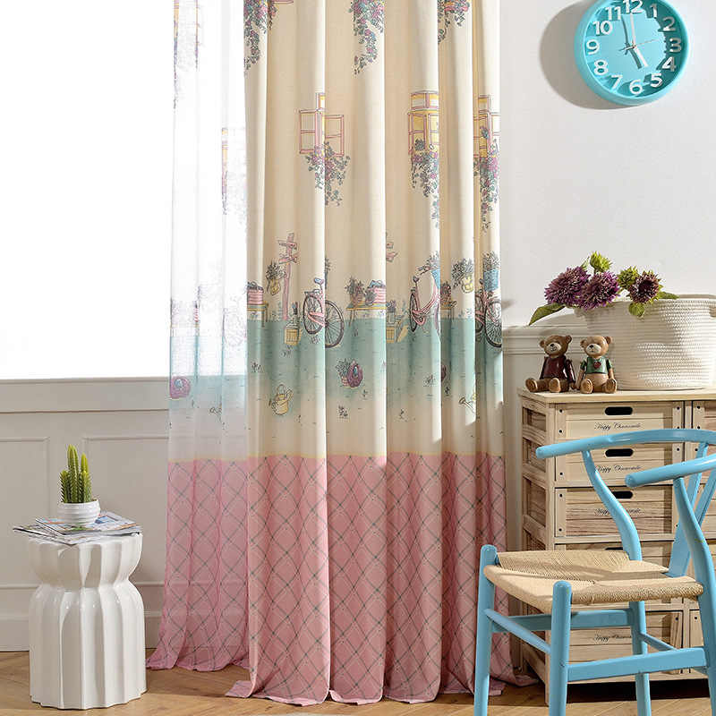 Riding Cartoon Sweet Pink Curtains For Children Girl Tulle Sheer Volie Curtain Quality Window  Cortinas Kids Room Curtains