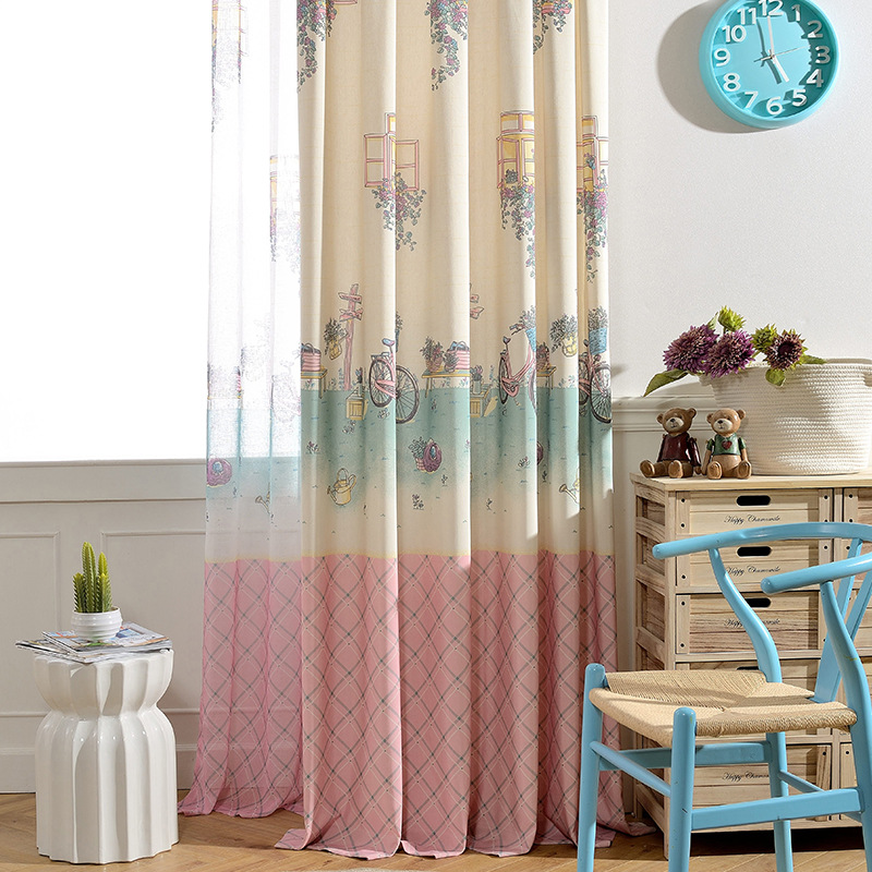Riding cartoon sweet pink curtains for children girl tulle sheer volie curtain blackout window - Amusing kids room curtains ...