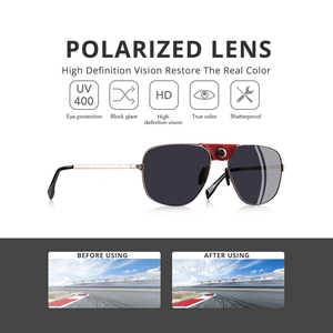 Image 2 - AOFLY, фирменный дизайн, модные поляризованные солнцезащитные очки, мужские очки для вождения, винтажные, золотые, оправа пилот, панк, солнцезащитные очки, мужские oculos de sol