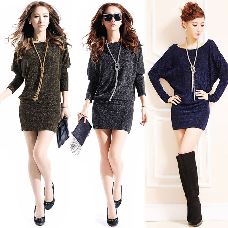 Autumn Winter Women Sexy Dress Long Sleeve O Neck Shiny Night Club Casual Bodycon Dresses S-3XL -MX8