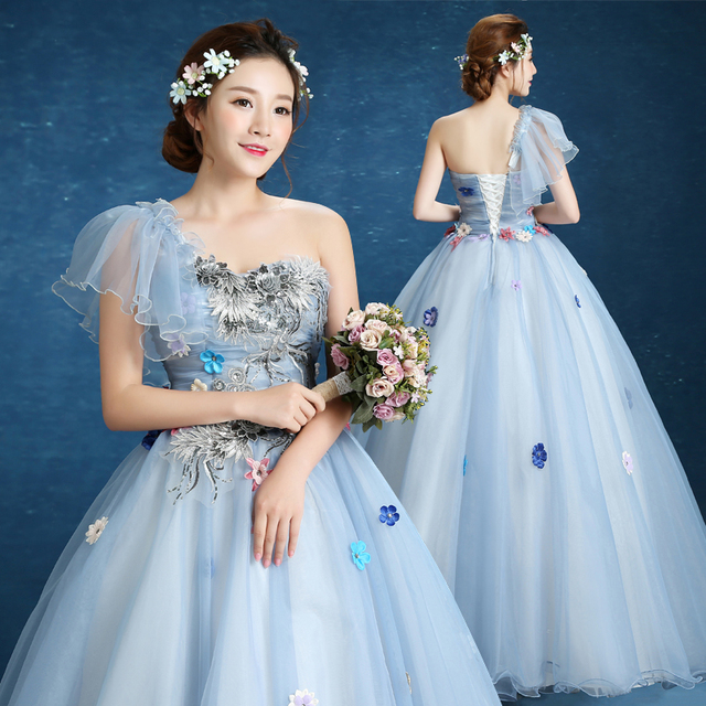 Free ship light grey ruffled single shoulder silver beading carnival ball gown medieval Renaissance Gown Victorian Belle ball