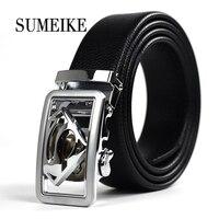 Designer Leather Belts Men High Quality Superman Automatic Silver Buckle Belt Men Ceintures Ceinture Homme Business