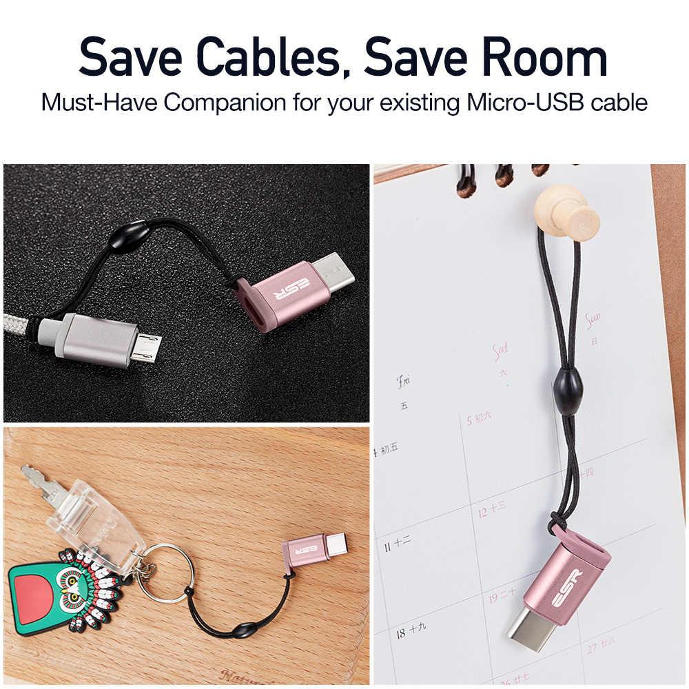 USB-C untuk Micro USB Adapter [2 Pack], ESR Tipe C Adapter Mengkonversi Konektor untuk MacBook Pro, Google Pixel, Pixel XL, HUAWEI Mate 9