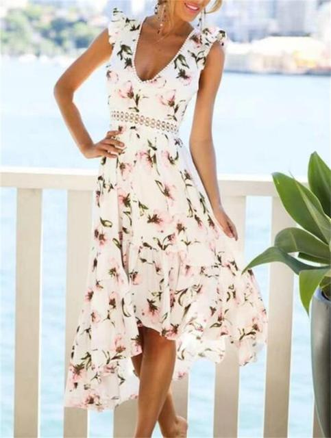 b1746f2805459a Women Lace Hollow Sexy V neck backless Summer Boho Chic Beach Dress 2018  Casual Floral Print Ruffles White Midi Dresses N269