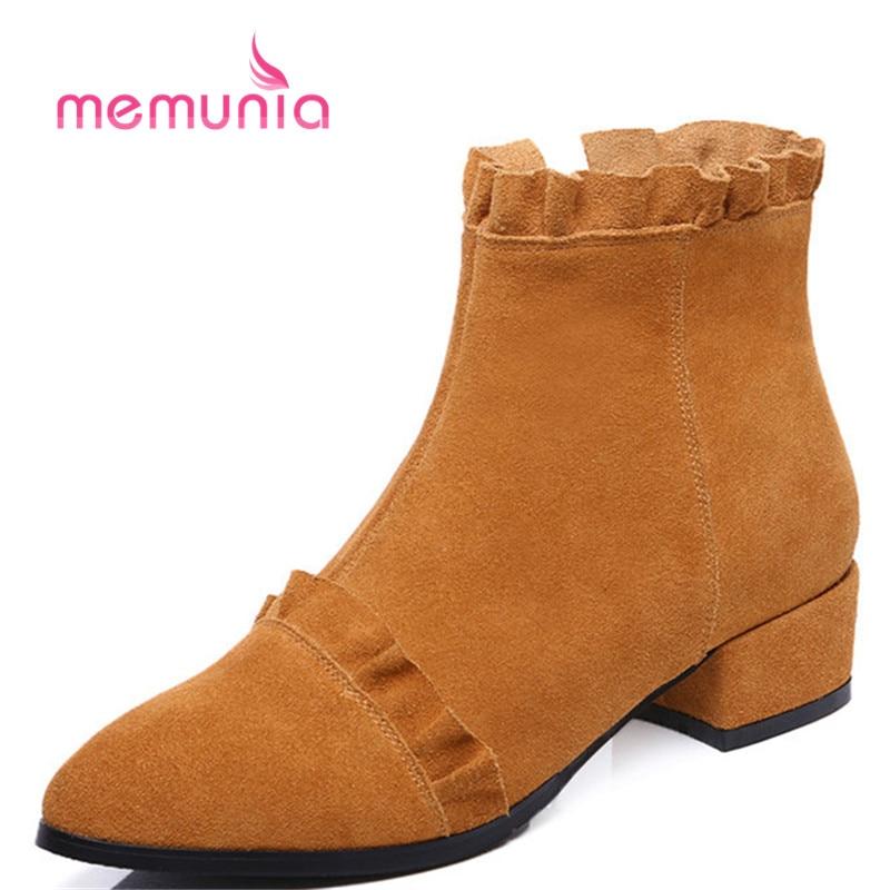 Tamaño Brown yellowish Med Botines Memunia Talones Dulce Grande Negro Simple Mujeres Moda Botas 33 Nueva Punta De 42 Ruffles Toe Invierno 2018 AwdRq1xw