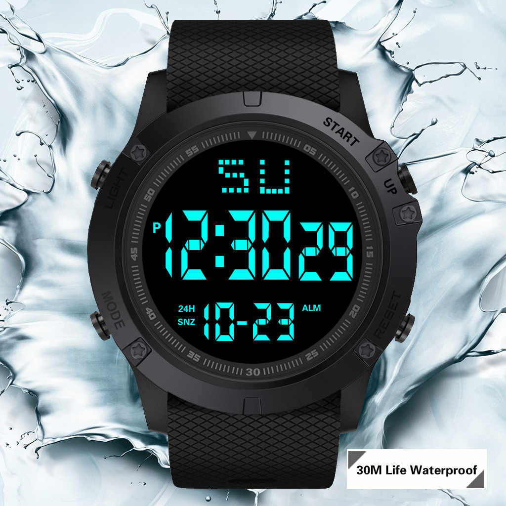 Fashion Men LED Digital Watch Waterproof Date Military Sport Rubber Quartz Watch Alarm sport digital watches reloj hombre 2019